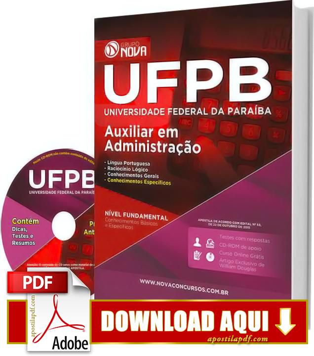 Apostila UFPB 2015 Auxiliar em Administração Impressa PDF Grátis Download