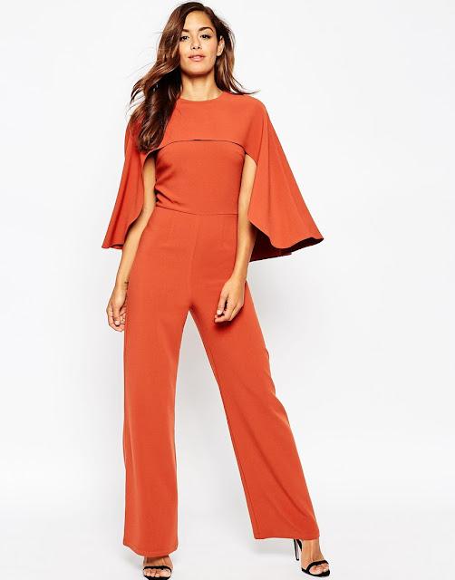 cape jumpsuit, orange cape jumpsuit,