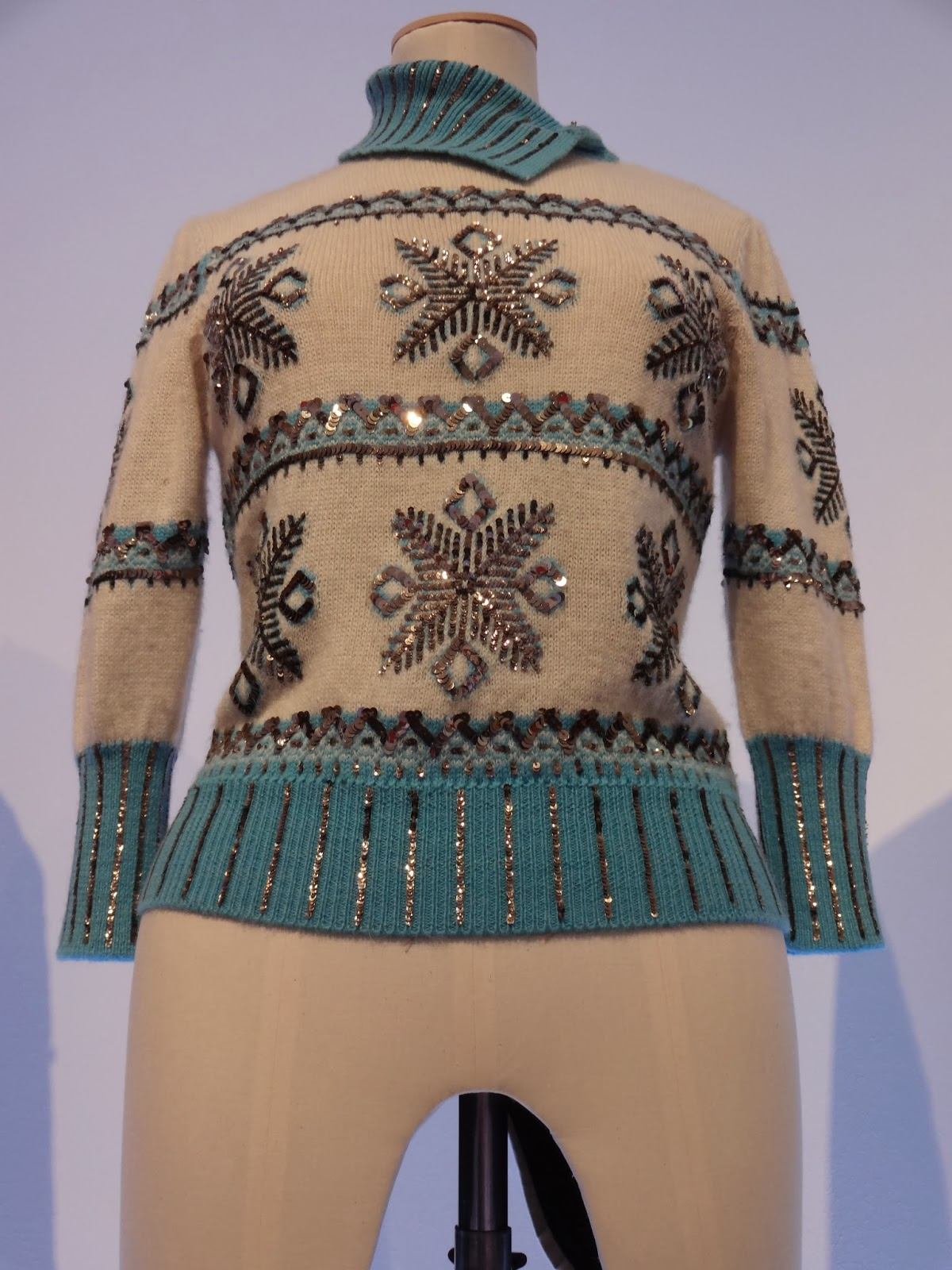 Women's Sequin Snowflake Knitwear Autumn Winter 2001