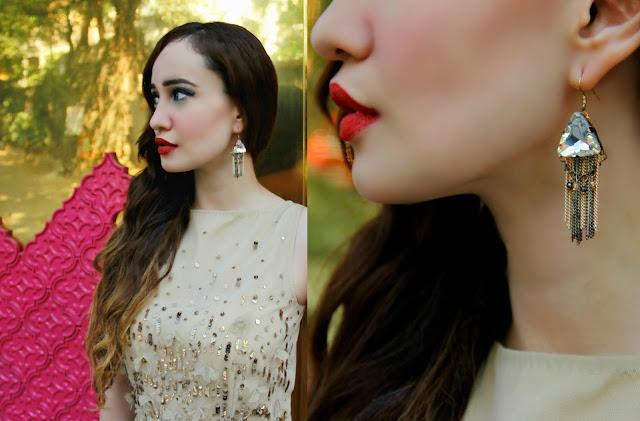 VERO MODA Marquee Gold Sequin Dress, Skater Dress, Gold Rush, Gold Tassel Earrings, Fringe Earrings, MAC Russian Red