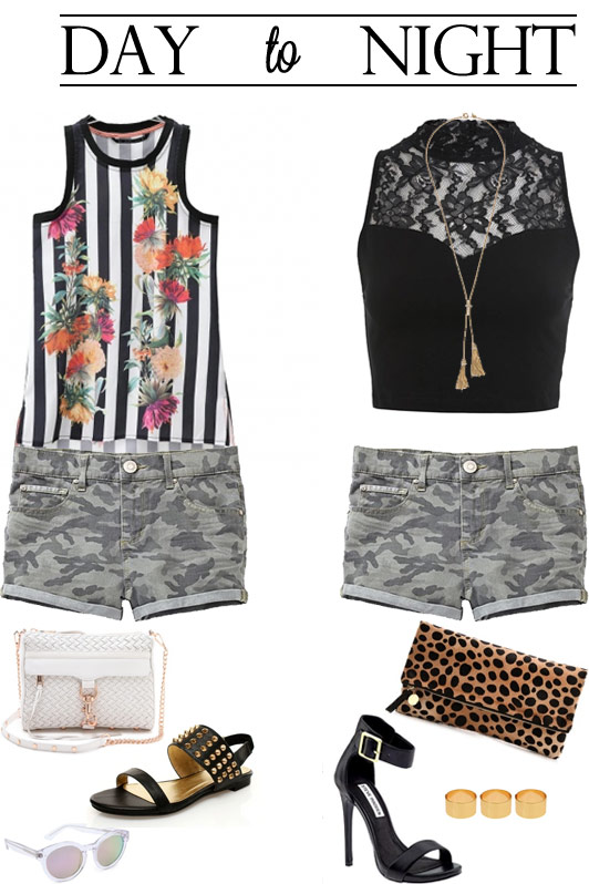camouflage, Garage Clothing, Persunmall, day to night looks, 1 pair of shorts 2 ways, J. Crew, ASOS chunky rings, Clare Vivier leopard clutch, fashion, style, summer style