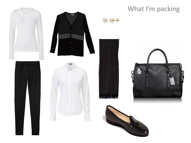 4 piece black and white travel capsule wardrobe