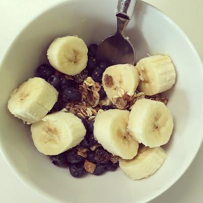 Healthy Eating Muesli Nuts Banana Blueberries Millied Linseed Yogurt Breakfast