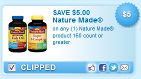 SAVE $5.00 on any Nature Made product 160 count or greater