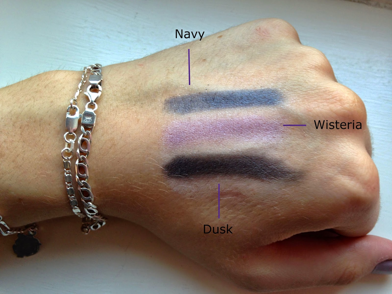 ELF Custom Eye Palettes Navy Dusk Wisteria Swatches
