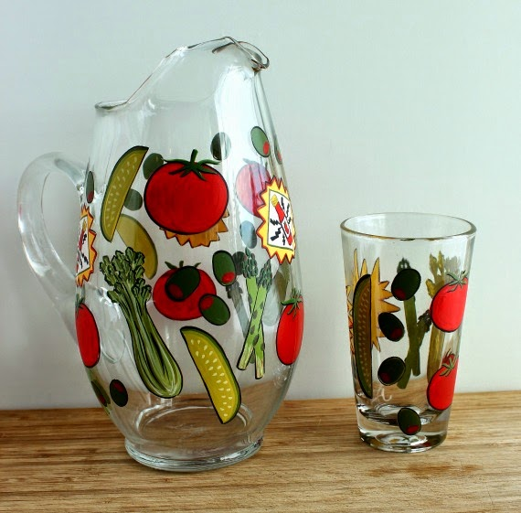 Bloody Mary painted pitcher and glass via kudoskitchenbyrenee.com