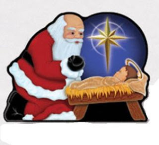 Beautiful Christmas clip art picture of glowing star at the manger of baby Jesus while Santa bowing at Christ