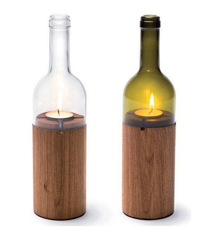Because It Is A Glass Candleholder That Made Of Beer Pattern Oiled Oak Wood And The WineLight Top Part From Side By Really Consists