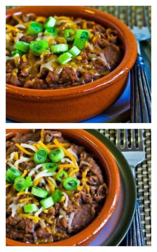 Pressure Cooker Refried Beans with Onion, Garlic, and Green Chiles