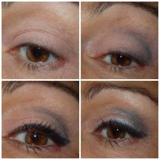 maquillaje de ojos azul y plata