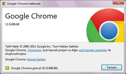 Google chrome 11 güncelleme