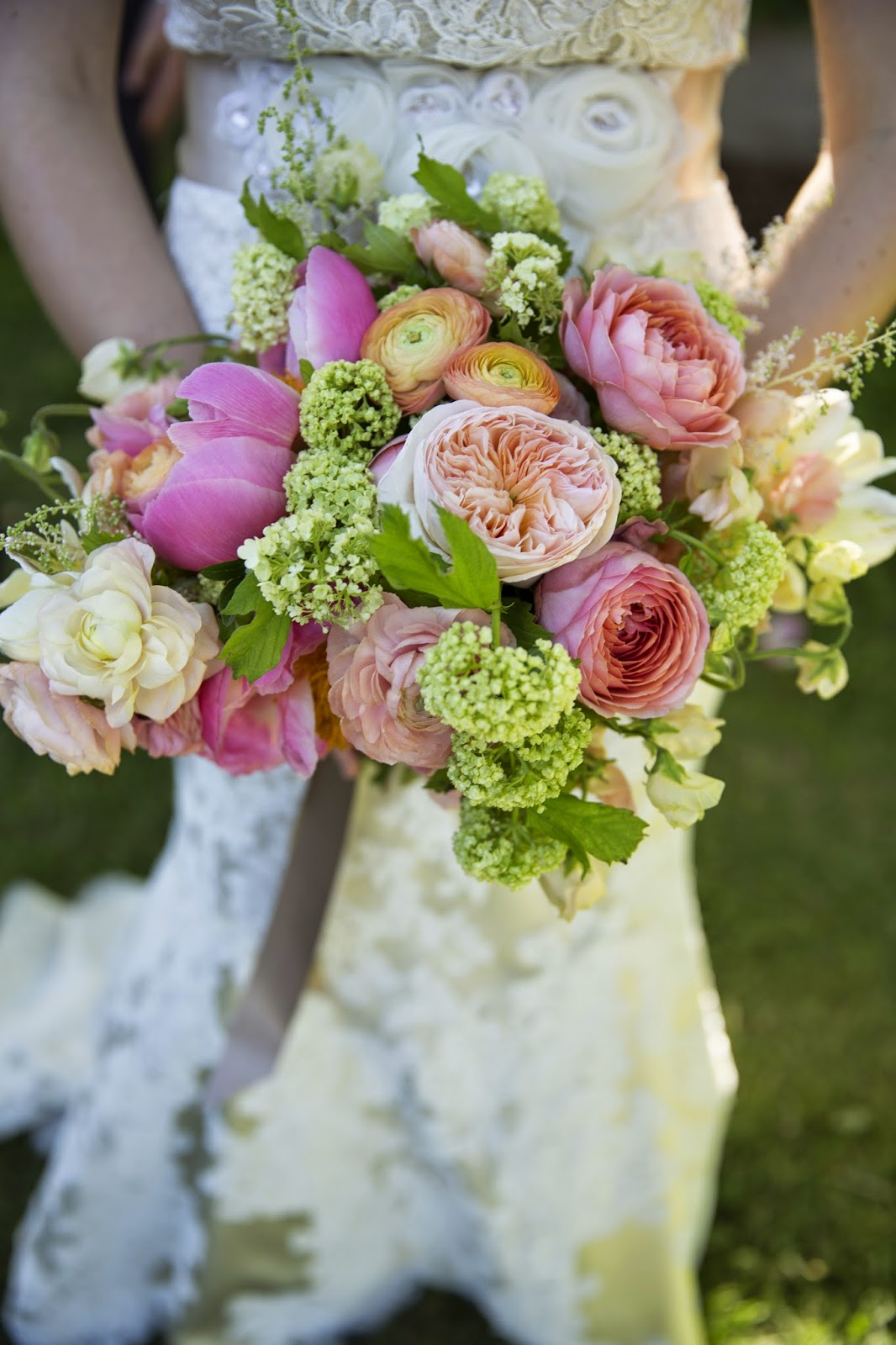Coral peach and blush organic brides bouquet by Sweet Pea Floral Design Ann Arbor featuring romantic antike garden roses, juliet garden roses, coral charm peonies, ranunculus, viburnum parrot tulips and astlilbe