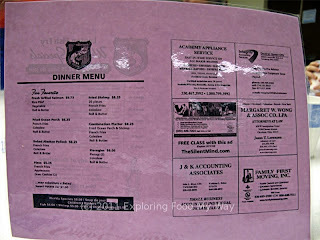Our Lady of Guadalupe's Dinner Menu Front