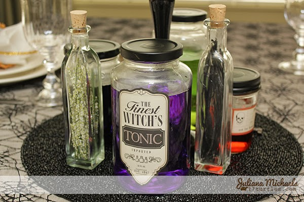 Halloween Jar Labels Centerpiece by Juliana Michaels