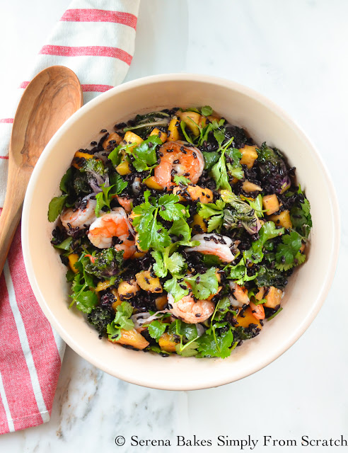 Asian Shrimp and Black Rice Salad is an easy to make healthy salad perfect as a main dish, side, or to bring to your next potluck! serenabakessimplyfromscratch.com