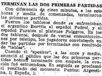 Otro recorte del diario ABC sobre el Match Internacional de Ajedrez Argentina-España, 1946