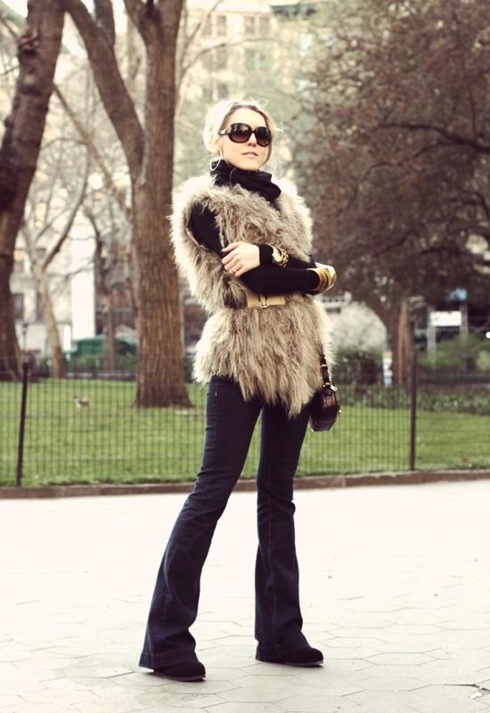 Vintage Havana Mongolian Fur Vest