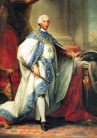 Carlos III con el hábito de su Orden retrato realizado por el checo Anton Raphael Mengs