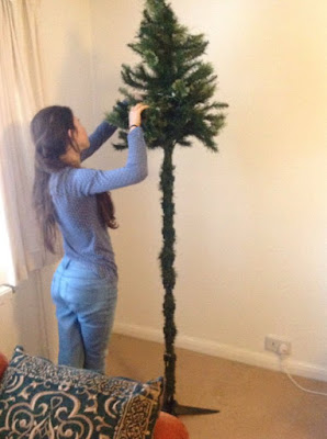 putting up a fake tree