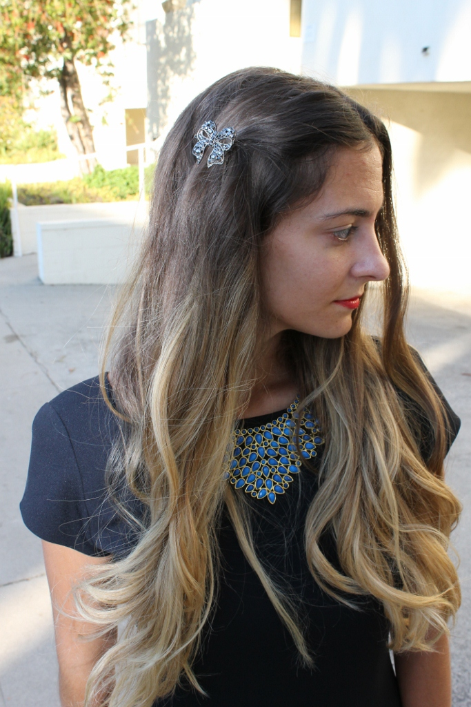 Ombre Hair. Ombre Color. Amrita Singh Rosaline Bib Necklace.