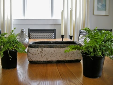 boston ferns, trough, centrepiece, dining table