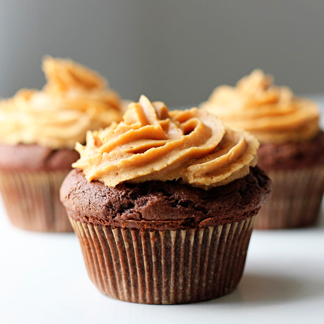 Peanut Butter-Filled Chocolate Cupcakes