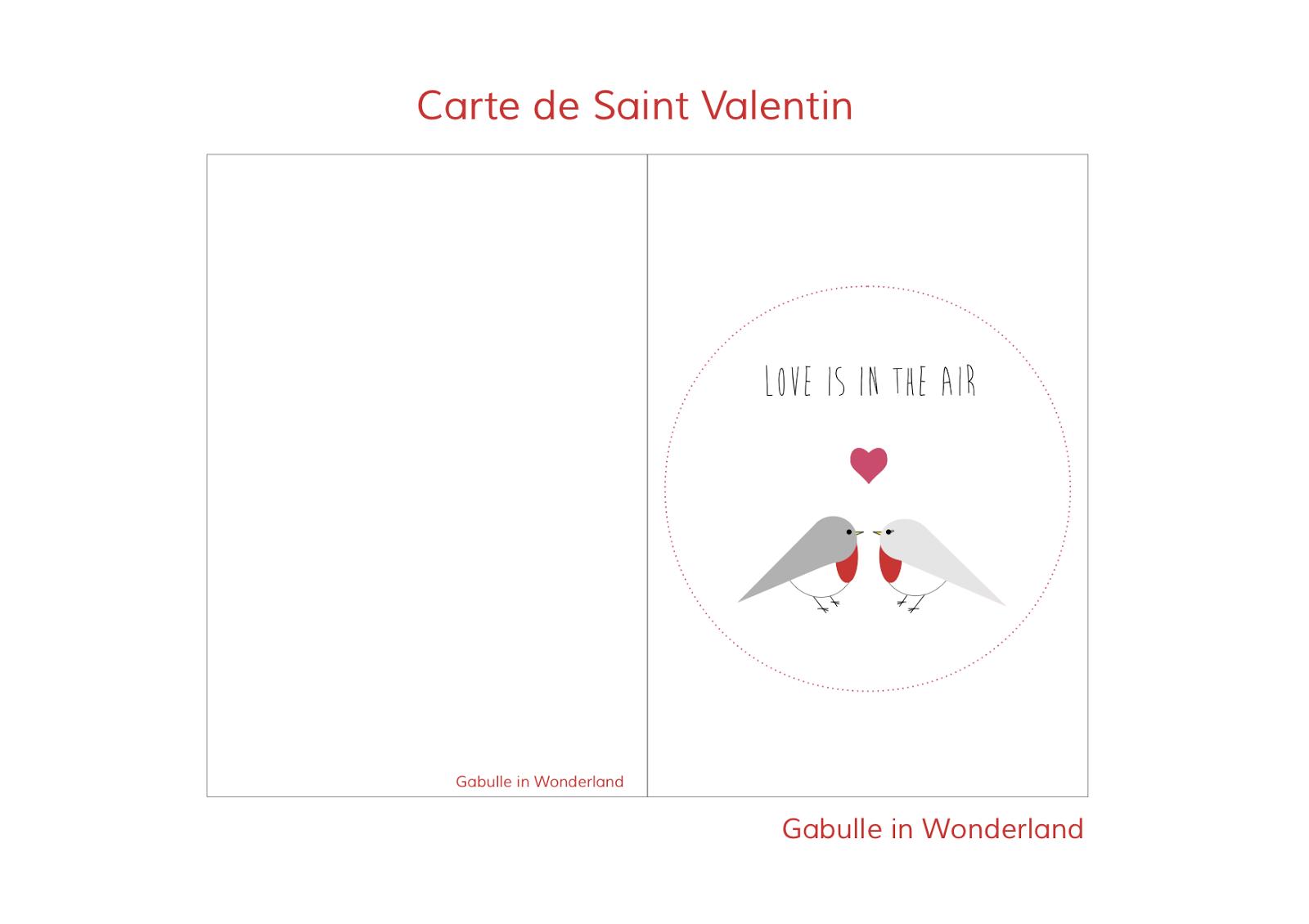 Gabulle in Wonderland: Carte à imprimer pour la Saint Valentin