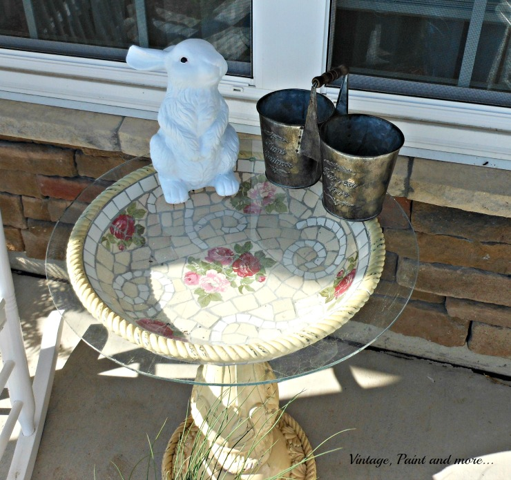 Vintage, Paint and more... bird bath used as a table with a painted terracotta rabbit
