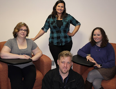 Photo of Peer Mentor Group: Samra Hausey, Dani Cross, Shira Charyn, Chris Kreschollek