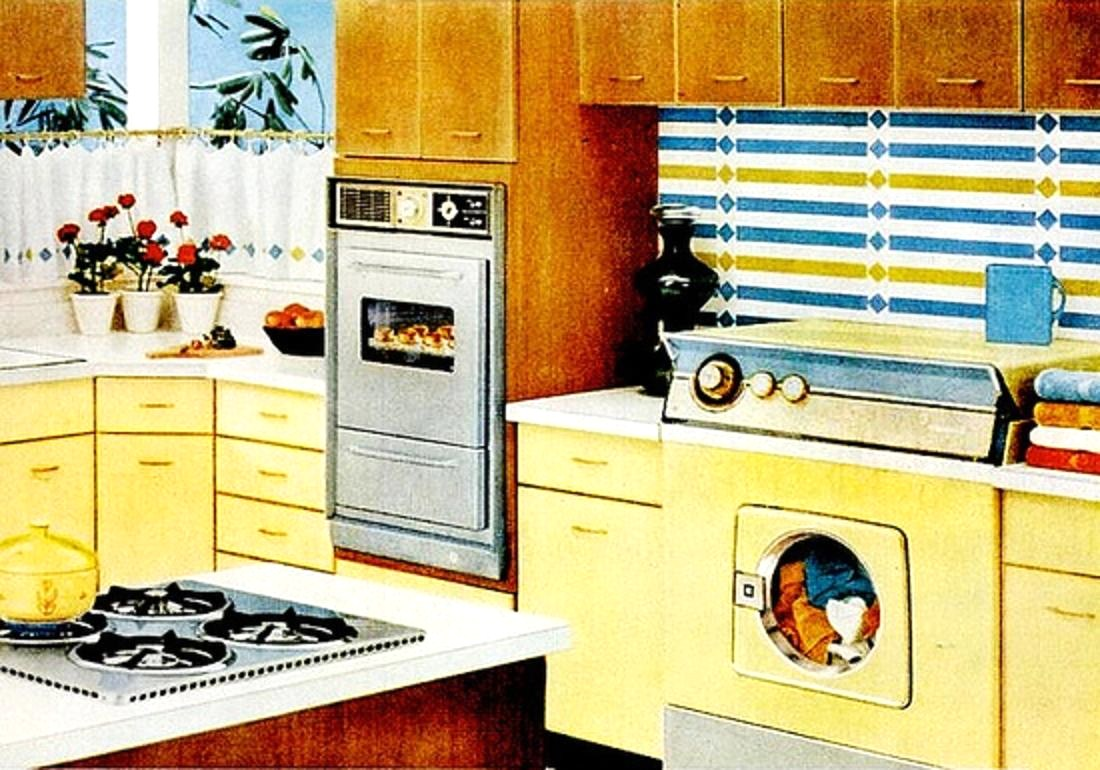 yellow retro kitchens - photo #23