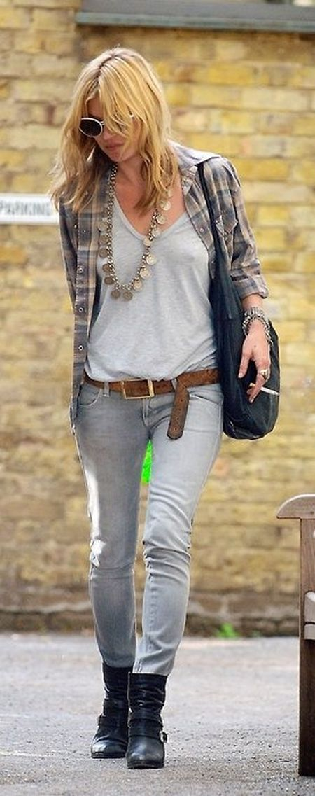 Kate Moss stylish street style grey plaid shirt, bohemian outfit