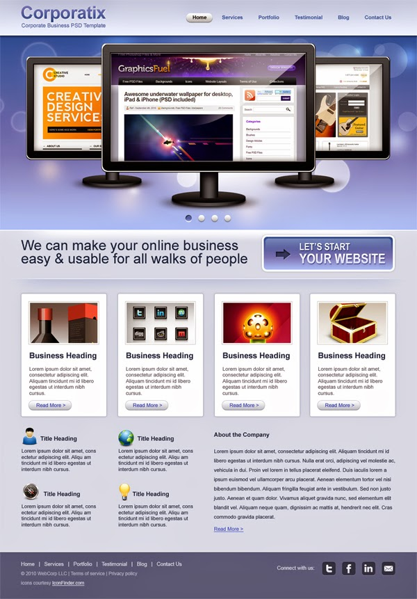 Clean Corporate & Business Website Template PSD