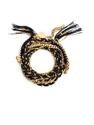 Black and gold chain rope bracelet