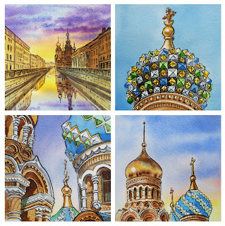 travel sketches in watercolor