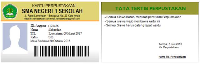 Contoh Kartu Perpustakaan