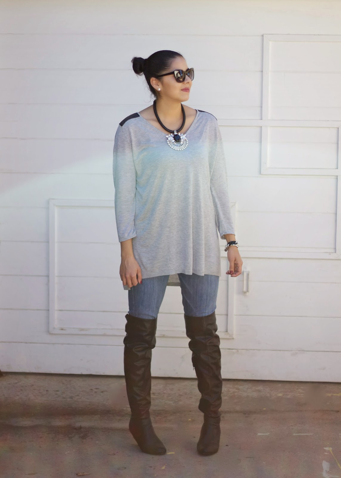 Charlotte Russe over the knee boots, black leather boots, Charlotte Russe black boots, how to wear black boots, pointed boots, how to wear pointed boots, boots with jeans, over the knee boots with jeans, casual way to wear over the knee boots