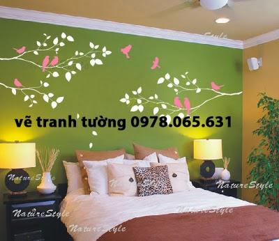 Vẽ tranh tường phòng ngủ hiện đại