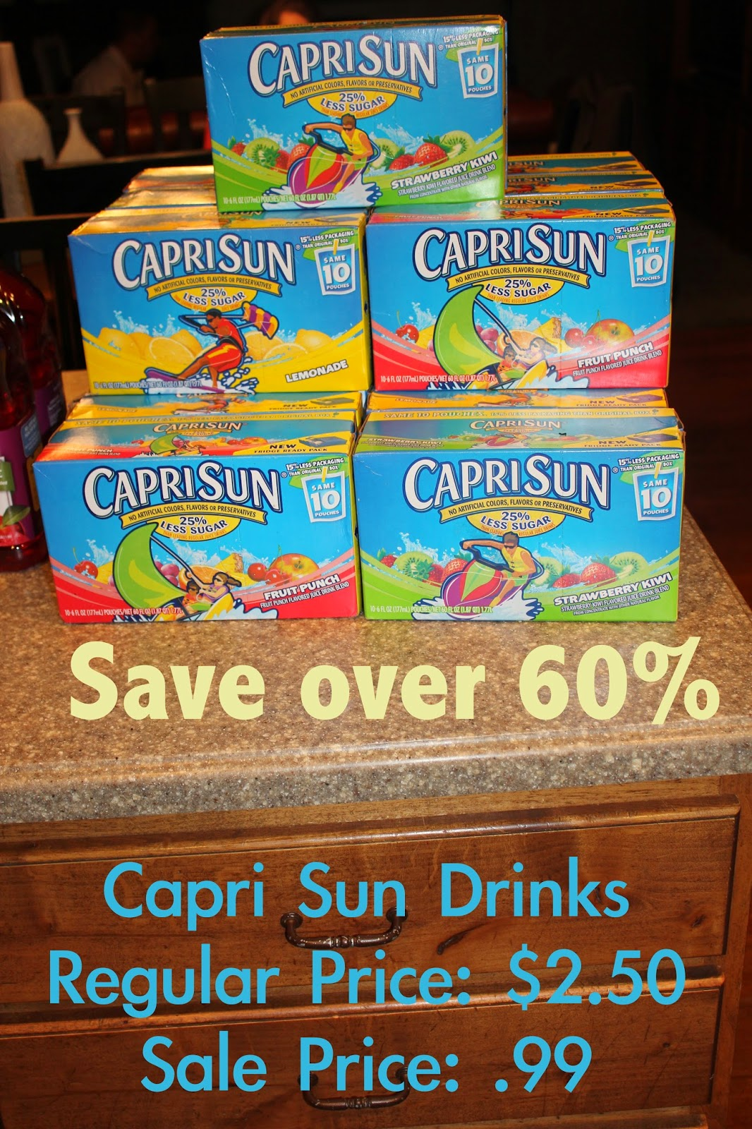 Capri Sun drinks only .99 a box--that's over 60% savings