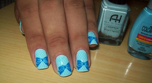 Blue Lagoon, Ana Hickmann; Azul Celeste, Única Camada, Colorama; Konad m57; Azul, Brasileirinha; Konad m59.