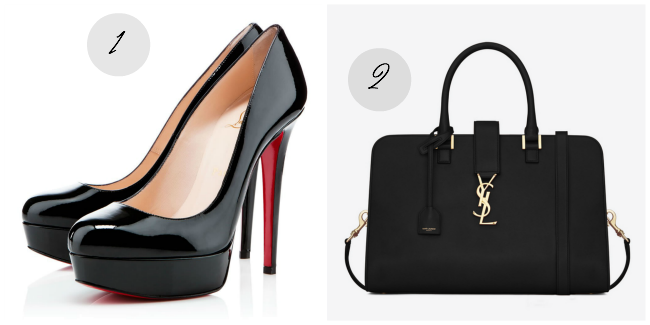 Louboutin Bianca and YSL black handbag