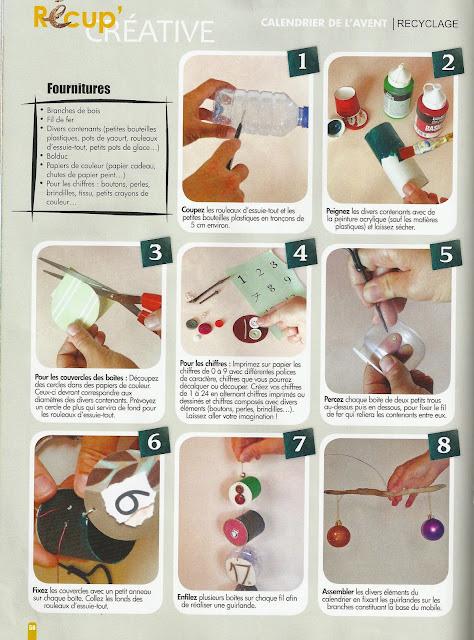conseils comment créer un calendrier de l'avent materiaux recuperation sopalin rouleaux papier toilette publié dans magazine creative de décembre par mimi vermicelle