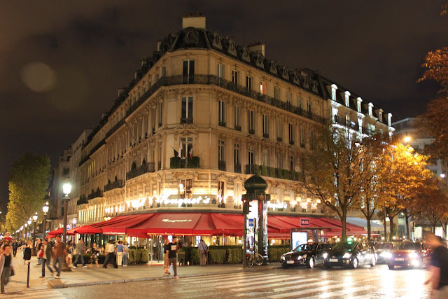 The most popular fine dining of Fouquet's Restaurant at Avenue des Champs-Elysees in Paris, France