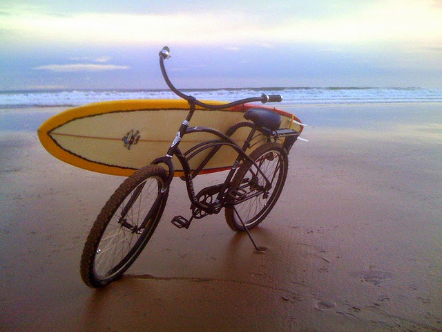 Surfboard bike rack example