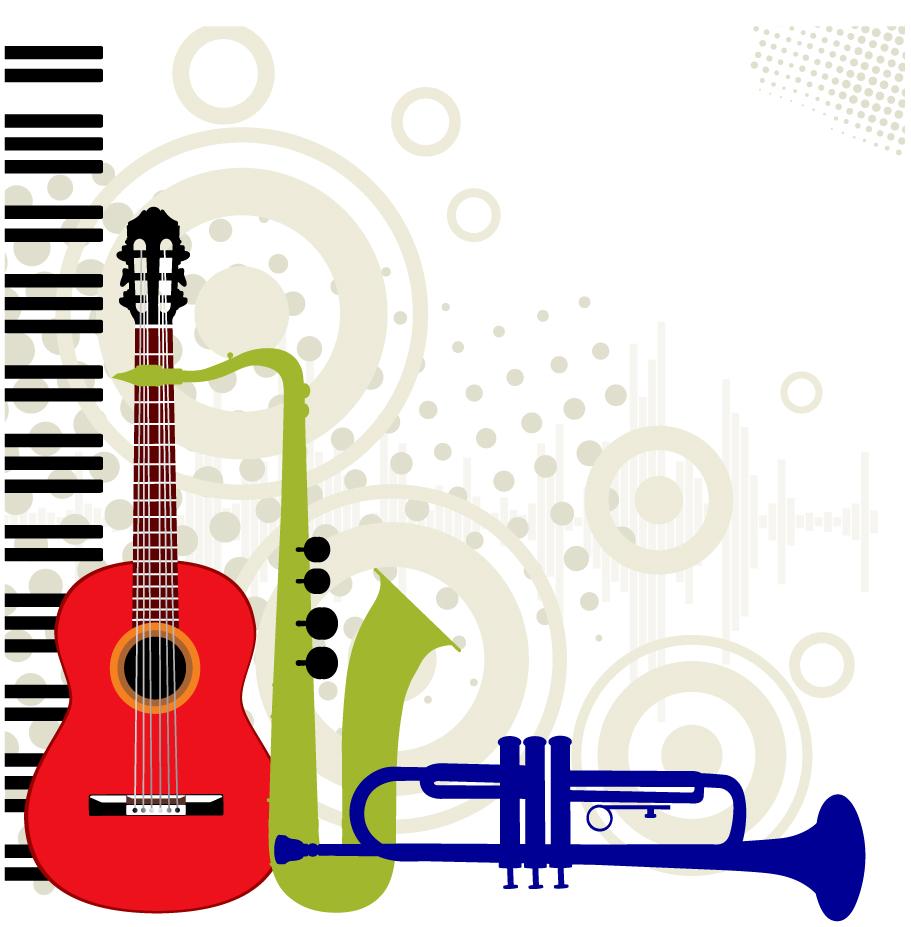 楽器のシルエット Vector music instruments イラスト素材
