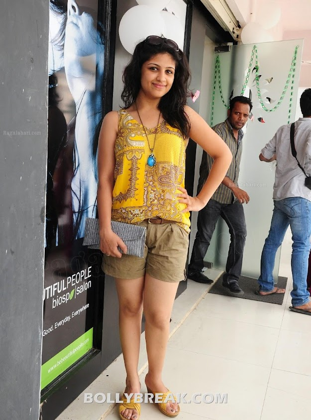 Supriya showed up in khakhi shorts, yellow top and matching sandals - Supriya @ Bio Spa and Salon Launch hot photos