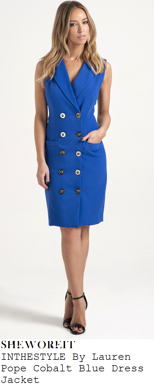 lauren-pope-bright-blue-sleeveless-tailored-blazer-dress-jacket