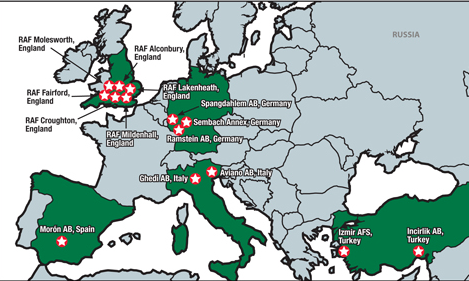 Above Is A Map Or The U S Air Force Bases In Europe I Could Be Happy In Any Of These Places