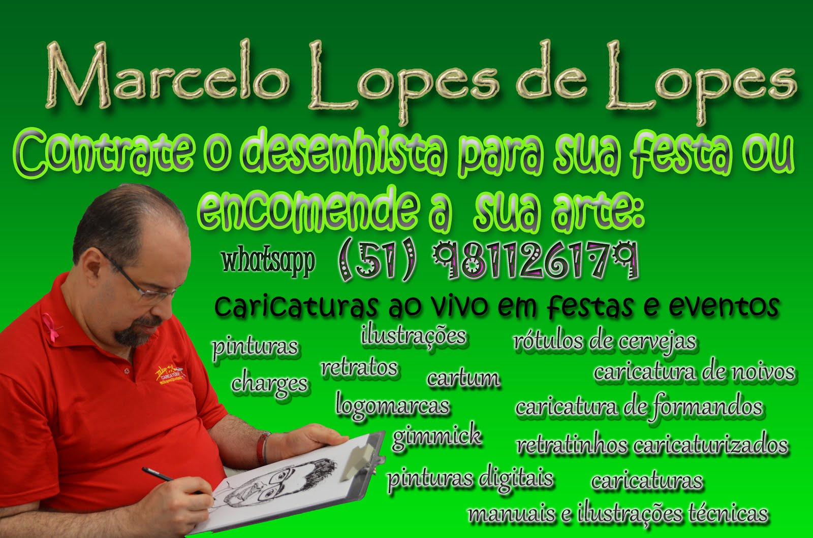 Caricaturas e desenhos Marcelo Lopes de Lopes, Porto Alegre