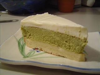 Japanese style matcha cheesecake in an oriental bake style