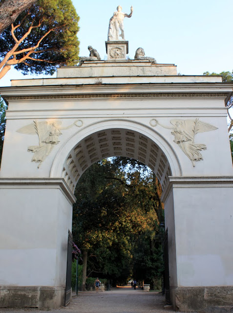 The gateway from Villa Borghese Lake in Rome, Italy